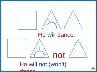 He will dance. He will not (won't) dance. not