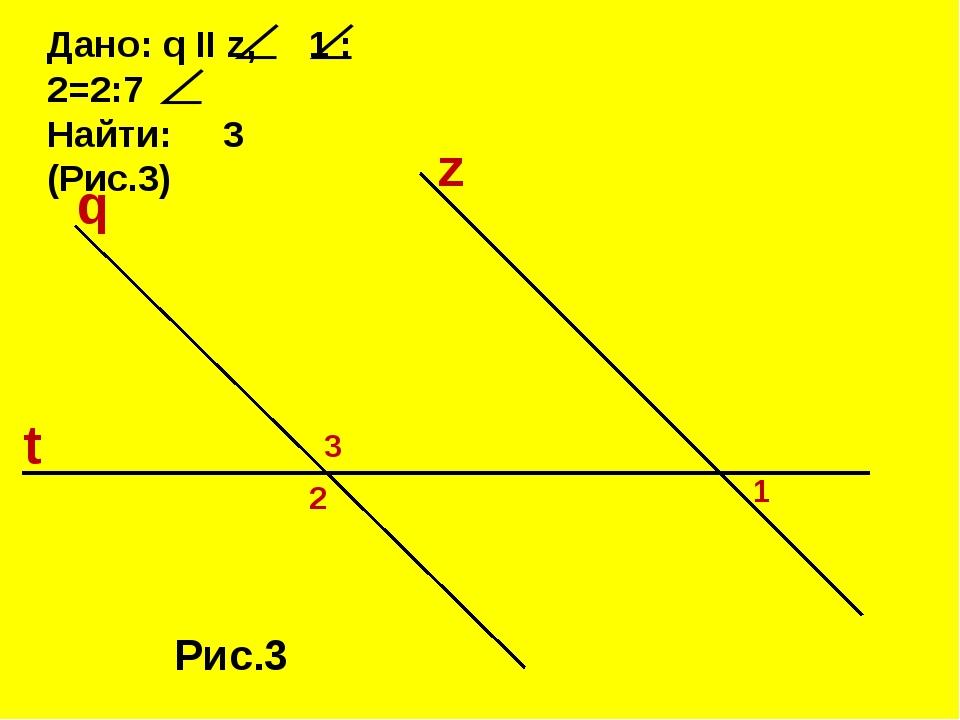 Дано: q II z, 1 : 2=2:7 Найти: 3 (Рис.3) z Рис.3 q t 3 2 1