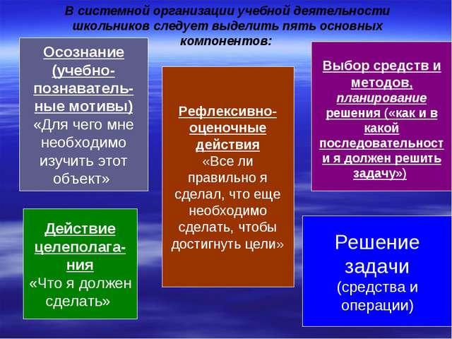 В системной организации учебной деятельности школьников следует выделить пять...