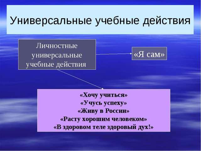 Универсальные учебные действия Личностные универсальные учебные действия «Хоч...
