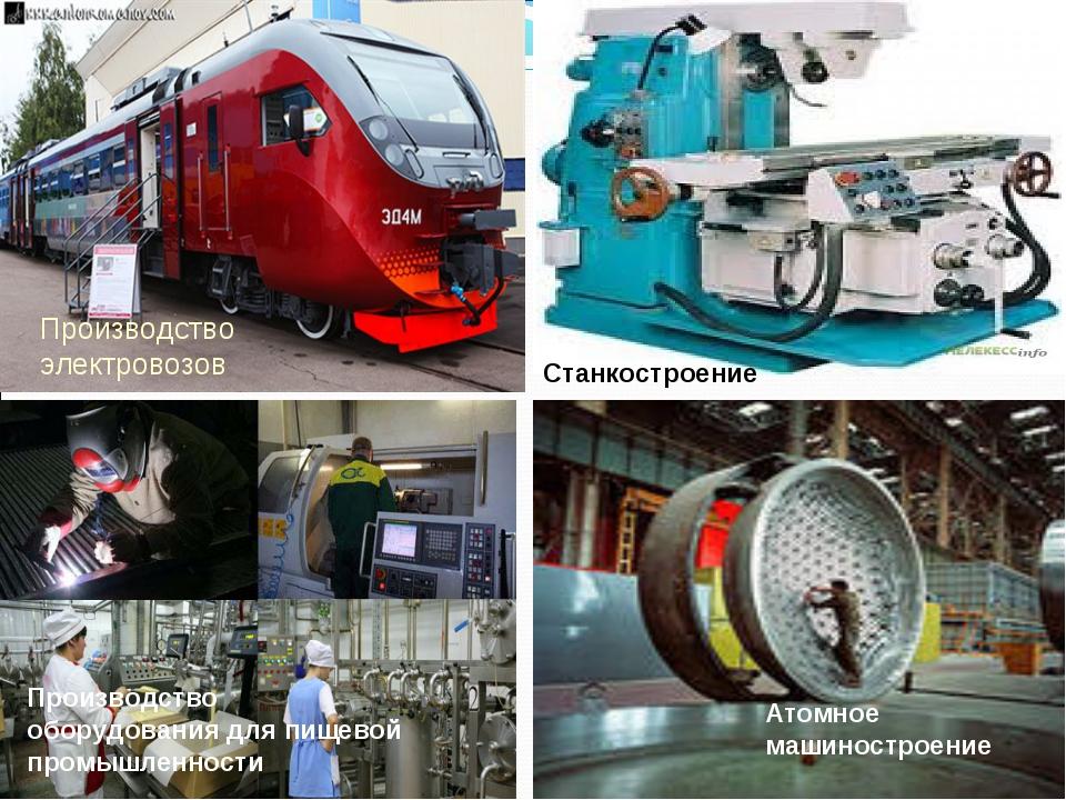 Атомное машиностроение Производство электровозов Станкостроение Производство...