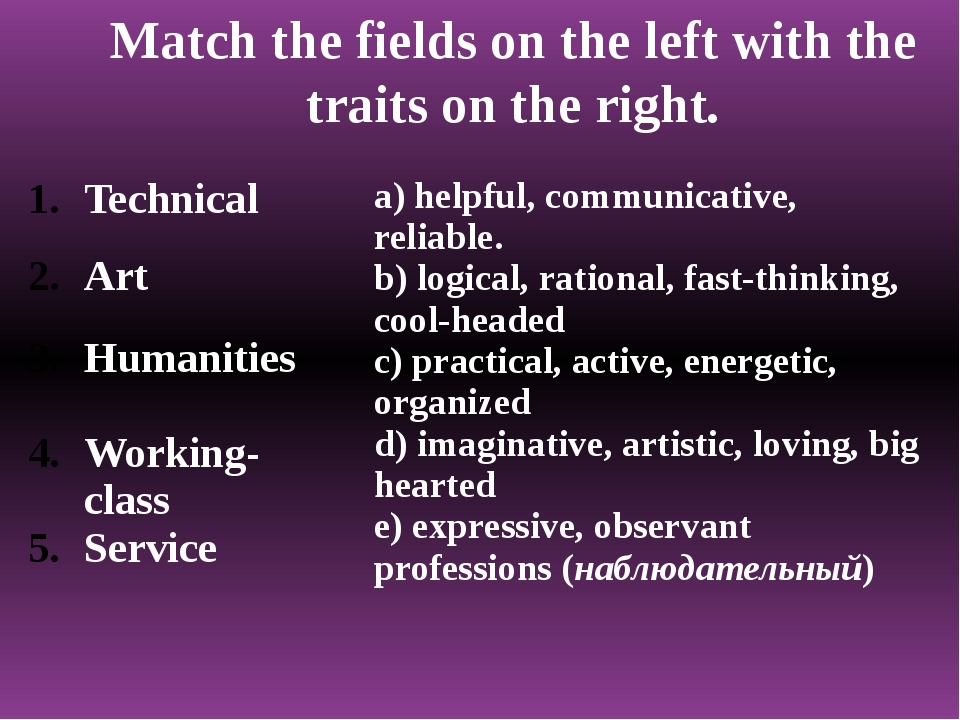 Match the fields on the left with the traits on the right. Technical Art Huma...