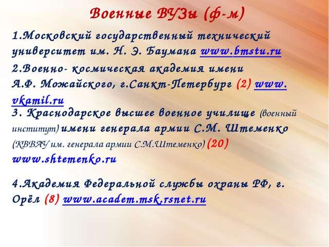Военные ВУЗы (ф-м) 2.Военно- космическаяакадемияимени А.Ф. Можайского, г.С...