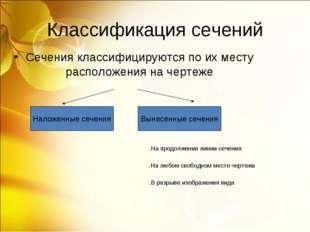 Классификация сечений Сечения классифицируются по их месту расположения на че