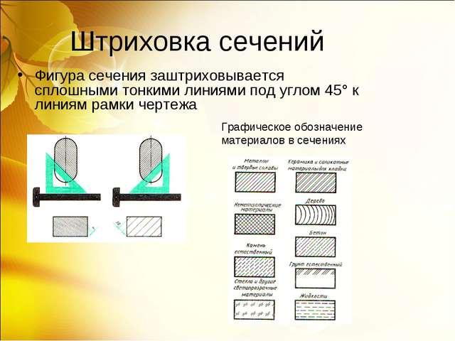 Штриховка сечений Фигура сечения заштриховывается сплошными тонкими линиями п...