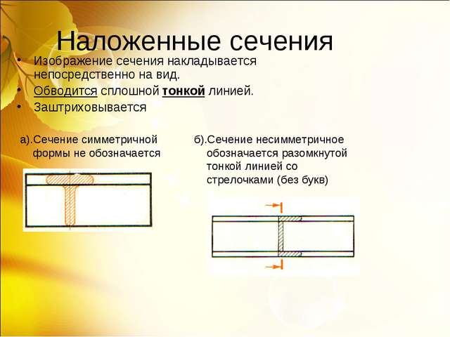 Наложенные сечения Изображение сечения накладывается непосредственно на вид....