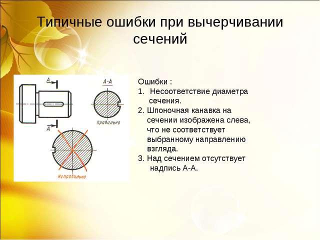 Типичные ошибки при вычерчивании сечений Ошибки : Несоответствие диаметра сеч...
