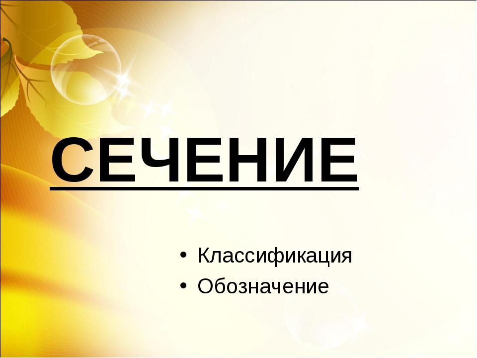 СЕЧЕНИЕ Классификация Обозначение