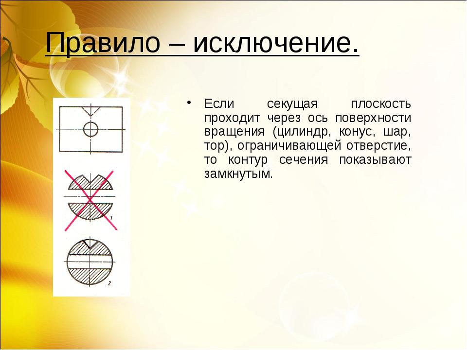 Правило – исключение. Если секущая плоскость проходит через ось поверхности в...
