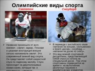 Олимпийские виды спорта Название произошло от англ. skeleton - скелет, каркас