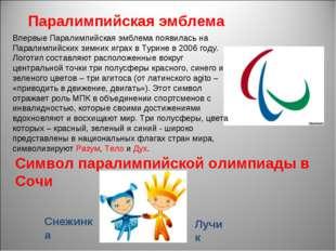 Впервые Паралимпийская эмблема появилась на Паралимпийских зимних играх в Ту