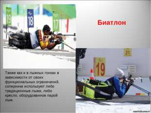 Биатлон Также как и в лыжных гонках в зависимости от своих функциональных огр