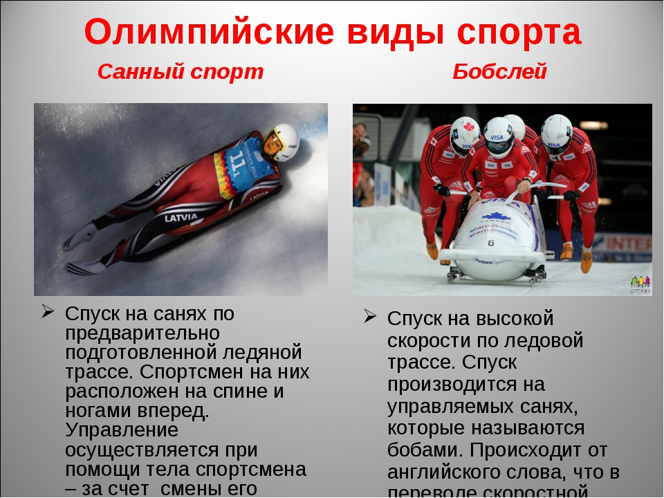 Олимпийские виды спорта Санный спорт Спуск на санях по предварительно подгото...