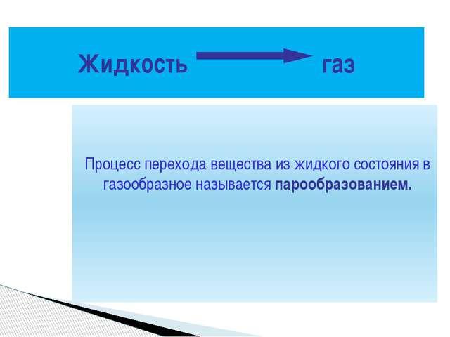 Процесс перехода вещества из жидкого состояния в газообразное называется пар...
