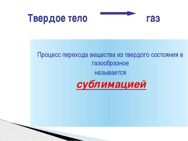 Процесс перехода вещества из твердого состояния в газообразное называется су...