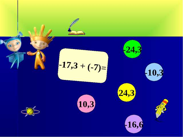-17,3 + (-7)= 10,3 -10,3 24,3 -24,3 -16,6