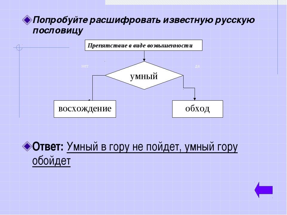 Попробуйте расшифровать известную русскую пословицу Ответ: Умный в гору не по...
