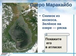Снимок из космоса. Зелёное на озере— ряска Покажите его в атласах