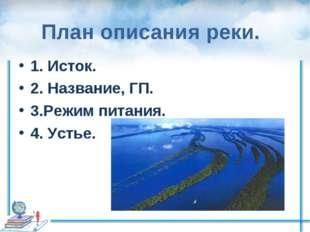 План описания реки. 1. Исток. 2. Название, ГП. 3.Режим питания. 4. Устье.