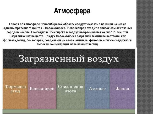 Атмосфера Говоря об атмосфере Новосибирской области следует сказать о влиянии...
