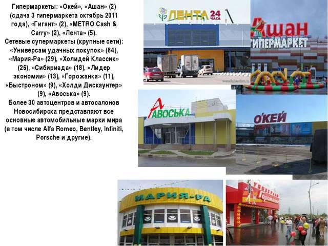 Гипермаркеты: «Окей», «Ашан» (2) (сдача 3 гипермаркета октябрь 2011 года), «Г...