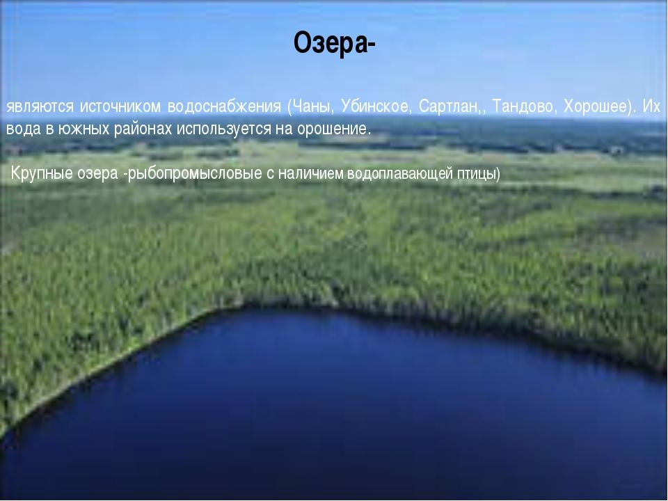 . Озера- являются источником водоснабжения (Чаны, Убинское, Сартлан,, Тандово...