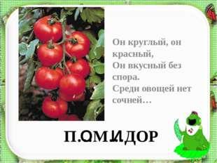 П…М…ДОР Он круглый, он красный, Он вкусный без спора. Среди овощей нет сочней