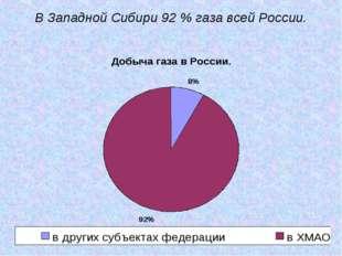 В Западной Сибири 92 % газа всей России.