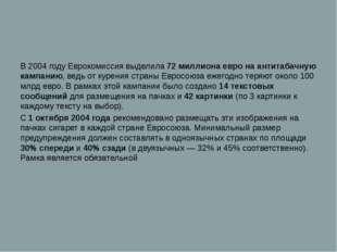 В 2004 году Еврокомиссия выделила 72 миллиона евро на антитабачную кампанию,
