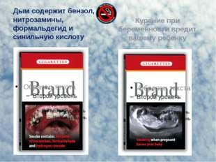 Дым содержит бензол, нитрозамины, формальдегид и синильную кислоту Курение пр