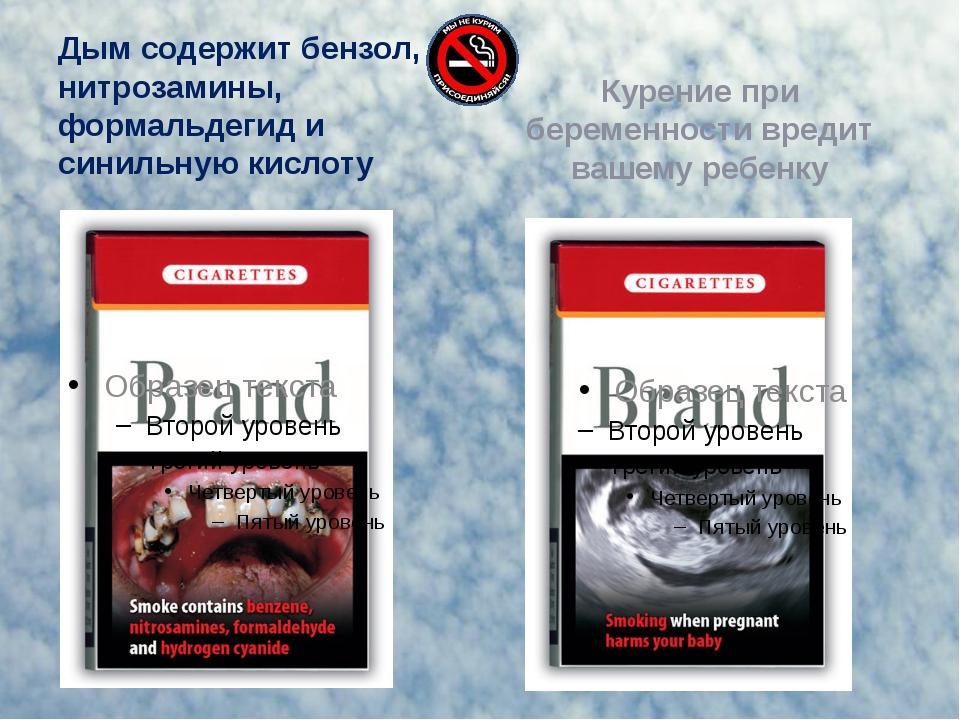 Дым содержит бензол, нитрозамины, формальдегид и синильную кислоту Курение пр...