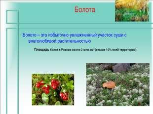 Болота Площадь болот в России около 2 млн.км2 (свыше 10% всей территории) Бол