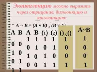 Эквиваленцию можно выразить через отрицание, дизъюнкцию и конъюнкцию: А ~ В =