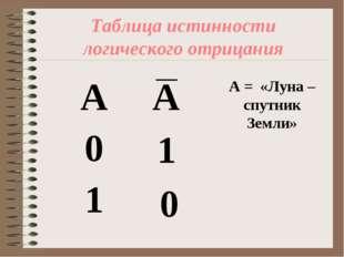 Таблица истинности логического отрицания А = «Луна – спутник Земли» 1 0