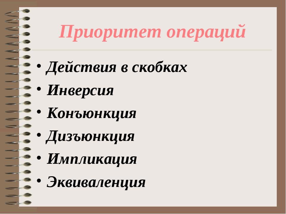 Приоритет операций Действия в скобках Инверсия Конъюнкция Дизъюнкция Импликац...