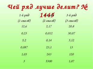 Чей ряд лучше делит? № 1445 1-й ряд (1 столб)2-й ряд (2 столб)3-й ряд (3 ст