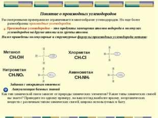 Понятие о производных углеводородов Рассмотренными примерами не ограничиваетс