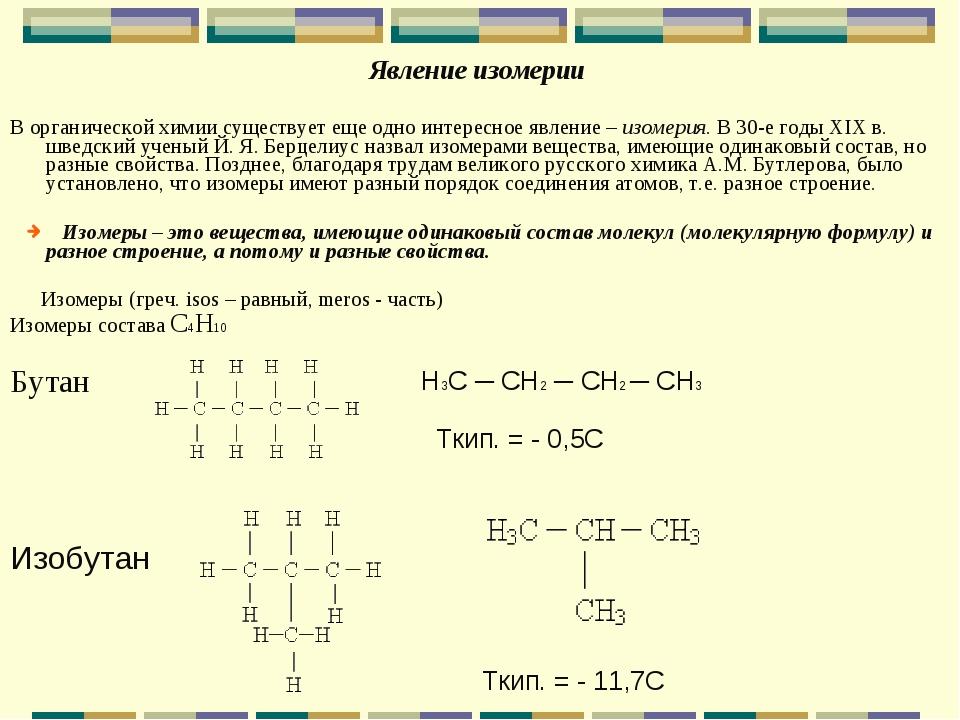 Явление изомерии В органической химии существует еще одно интересное явление...