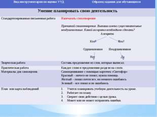 Вид инструментария по оценке УУД Образец задания дляобучающихся Умение планир
