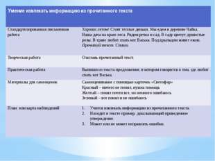 Умение извлекать информацию из прочитанного текста Стандартизированная письме