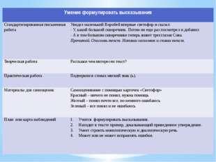 Умение формулировать высказывания Стандартизированная письменная работа Увиде