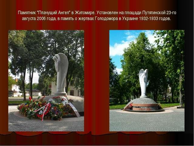 """Памятник """"Плачущий Ангел"""" в Житомире. Установлен на площади Путятинской 23-го..."""