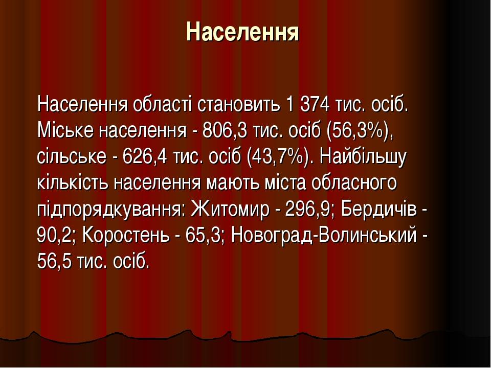 Населення Населення області становить 1 374 тис. осіб. Міське населення - 80...