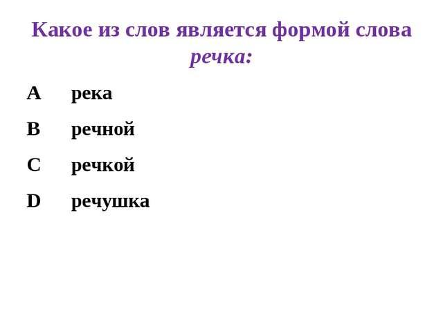 Какое из слов является формой слова речка: Арека Вречной Сречкой Dреч...