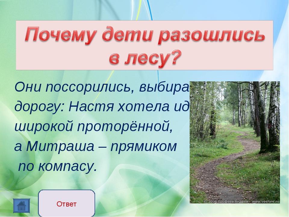 Они поссорились, выбирая дорогу: Настя хотела идти широкой проторённой, а Ми...