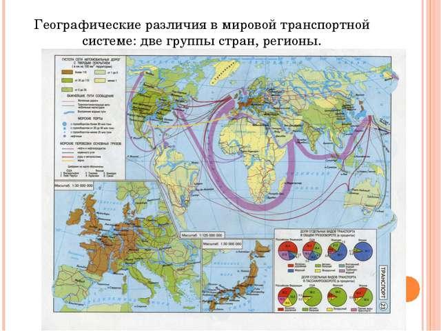 Географические различия в мировой транспортной системе: две группы стран, рег...