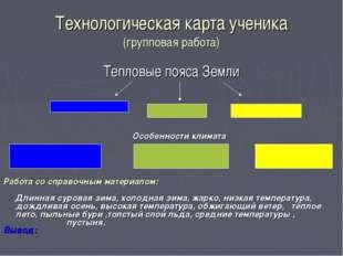 Технологическая карта ученика (групповая работа) Тепловые пояса Земли Особенн
