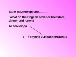 Если вам интересно………. What do the English have for breakfast, dinner and lun