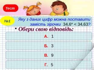 Тест Яку з даних цифр можна поставити замість зірочки 34,6* < 34,63? №1 А. 1