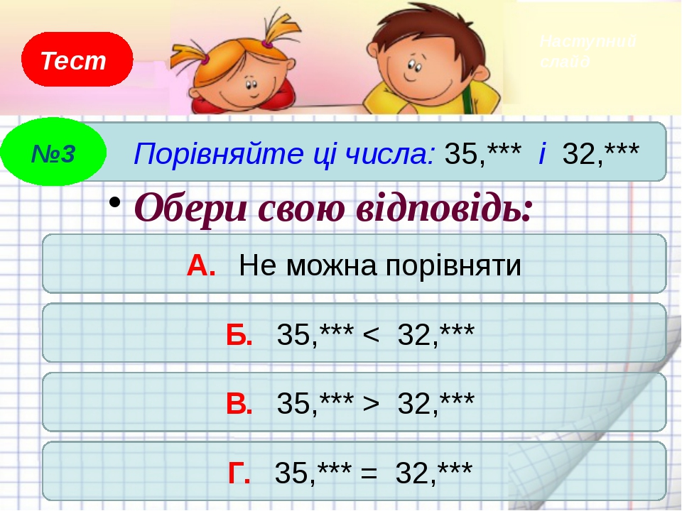 Тест Порівняйте дроби 5,489 і 8,103. Який знак треба поставити між дробами? А...